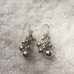 Vintage silver ball drop earrings